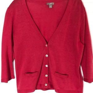 J Jill red small petite cardigan sweater
